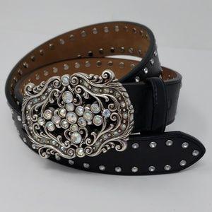 Tony Lama Black Leather & Rhinestone WesternBelt